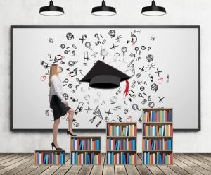 A woman in formal clothes is going up on the bookshelf. A concept of different level of education. A sketched graduation hat and different educational icons on the whiteboard.